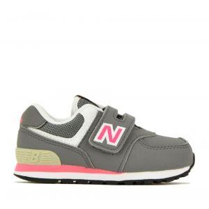 Scarpe Bambina NEW BALANCE Sneakers 574 in Tessuto Sintetico e Mesh colore Grey e Pink