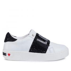 Scarpe Donna LOVE MOSCHINO Sneakers in Pelle Bianca con Fascia Logata con Strass