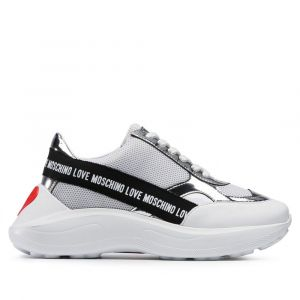 Scarpe Donna LOVE MOSCHINO Sneakers in Rete e Vernice Bianco e Silver