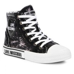 Scarpe Donna LOVE MOSCHINO Sneakers Alte con Paillettes Nere