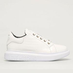 Scarpe Donna LOVE MOSCHINO Sneakers in Pelle stampa Cocco Bianco