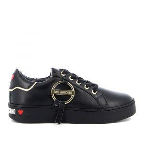 Scarpe Donna LOVE MOSCHINO Sneakers in Pelle Nera linea Round Buckle