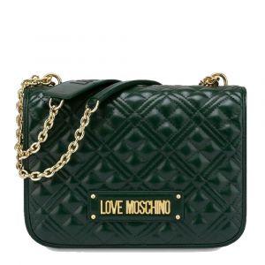 Borsa Donna a Spalla LOVE MOSCHINO effetto Trapuntato con Logo Verde