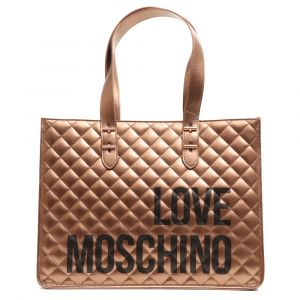 Borsa Donna Shopper a Spalla LOVE MOSCHINO linea I Love Shopping Bronzo
