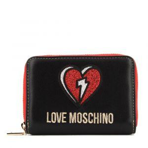 Portafoglio Donna Piccolo Zip Around LOVE MOSCHINO linea Glitter Heart Nero e Rosso