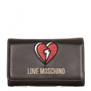 Portafoglio Donna Piccolo con Bottone LOVE MOSCHINO linea Glitter Heart Nero e Rosso