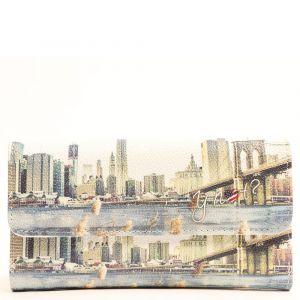 Portafoglio Donna Medio con Bottone Y NOT L-369 NY Landscape