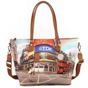 Borsa Donna Y NOT Shopping Media a Spalla con Tracolla L-396 Princess in London