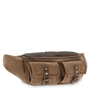 Marsupio THE BRIDGE in Pelle Marrone e Tessuto Khaki linea Carver-D Made in Italy