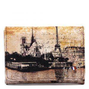 Portafoglio Donna con Bottone Y NOT MAT-346 Città Materica Parigi