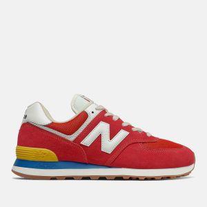 Scarpe Uomo NEW BALANCE Sneakers 574 in Suede e Mesh colore Team Red e Wave Blue