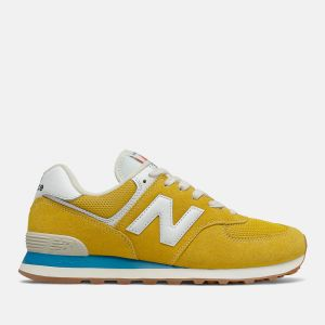 Scarpe Uomo NEW BALANCE Sneakers 574 in Suede e Mesh colore Varsity Gold e Deep Sky