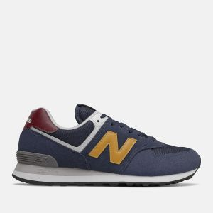 Scarpe Uomo NEW BALANCE Sneakers 574 in Suede e Tessuto colore Natural Indigo e Aspen