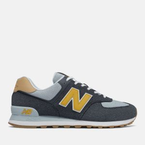 Scarpe Uomo NEW BALANCE Sneakers 574 in Suede e Tessuto colore Outerspace e Varsity Gold