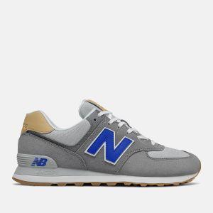 Scarpe Uomo NEW BALANCE Sneakers 574 in Suede e Tessuto colore Castelrock e Team Royal