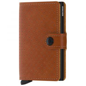 Porta Carte con Clip SECRID linea Perforated in Pelle Color Cognac con RFID