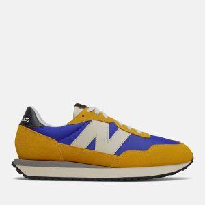 Scarpe Uomo NEW BALANCE Sneakers 237 in Suede e Nylon colore Cobalt Blue e Giallo