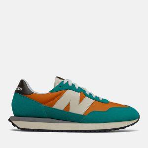 Scarpe Uomo NEW BALANCE Sneakers 237 in Suede e Nylon colore Vintage Orange e Green