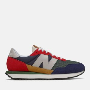 Scarpe Uomo NEW BALANCE Sneakers 237 in Suede e Mesh colore Team Red e Multicolor