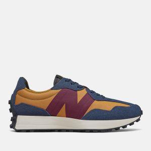Scarpe Uomo NEW BALANCE Sneakers 327 in Suede e Nylon colore Natural Indigo Burgundy e Tan