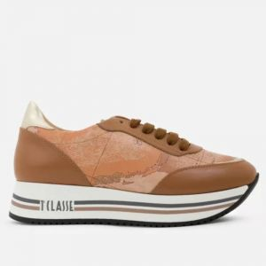 Scarpe Donna 1A Classe Alviero Martini Sneakers in Pelle Marrone linea New Geo Crossing P941