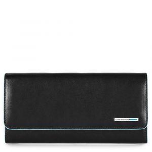 Portafoglio Donna con Porta Documenti Estraibile PIQUADRO In Pelle Nera - PD3889B2 Linea Blue Square
