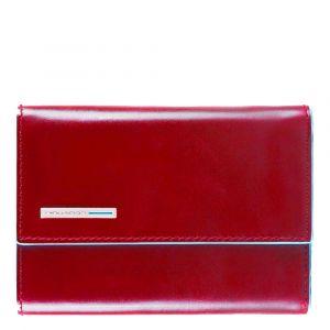 Portafoglio Donna Piccolo con Bottone PIQUADRO In Pelle Rossa - PD4145B2R Linea Blue Square