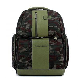 """PIQUADRO Zaino Porta Pc 15,6"""" - linea Brief in Tessuto e Pelle Camouflage Verde CA4532BR"""