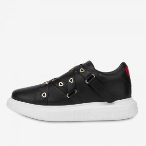 Scarpe Donna LOVE MOSCHINO Sneakers in Pelle Nera linea Heart Eyelets