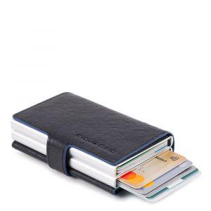 Portacarte PIQUADRO in Pelle e Alluminio con RFID Colore Blu Linea Blue Square