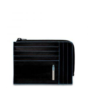 Porta Carte Chiuso con Zip PIQUADRO In Pelle Nera - PU1243B2R Linea Blue Square