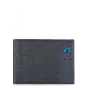 Portafoglio Piquadro Uomo con Portamonete in Pelle Chevron - Blu PU257P16