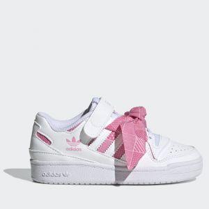 Scarpe Bambina ADIDAS Sneakers linea Forum Low colore Bianco e Rosa con Fiocco a Pois