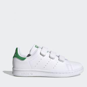 Scarpe Bambino ADIDAS Sneakers linea Stan Smith CF C con Strappi colore Bianco e Verde