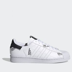 Scarpe Uomo ADIDAS Sneakers linea Superstar in Pelle Sintetica colore Bianco e Nero con Scritte Laterali