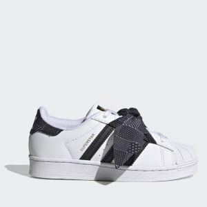 Scarpe Bambina ADIDAS Sneakers linea Superstar C colore Bianco e Nero con Fiocco a Pois