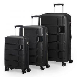 Set 3 Trolley 4 Ruote Rigido - American Tourister Summer Splash Nero
