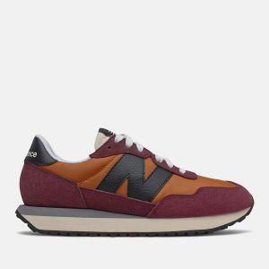 Scarpe Donna NEW BALANCE Sneakers 237 in Suede e Nylon colore Vintage Orange e Burgundy