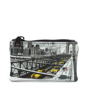 Bustina Portachiavi Y NOT Stampa New York Brooklyn Bridge Chiusa con Zip YES-307