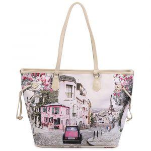 Borsa Donna Y NOT Shopping Grande a Spalla YES-319 Paris Charleston