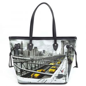 Borsa Donna Y NOT Shopping Grande a Spalla YES-319 New York Brooklyn Bridge