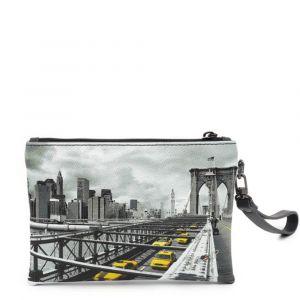 Pochette Media Donna con Zip Y NOT YES-343 New York Brooklyn Bridge