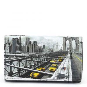 Portafoglio Donna con Bottone Y NOT YES-364 New York Brooklyn Bridge