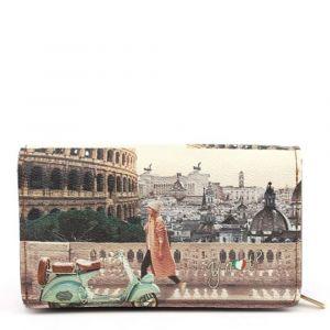 Portafoglio Donna con Bottone Y NOT YES-364 Walk in Rome