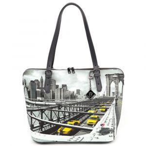 Borsa Donna Grande a Spalla Y NOT YES-377 New York Brooklyn Bridge
