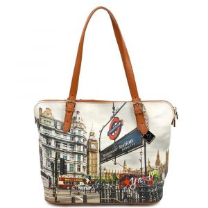 Borsa Donna Grande a Spalla Y NOT YES-377 London Westminster Tube