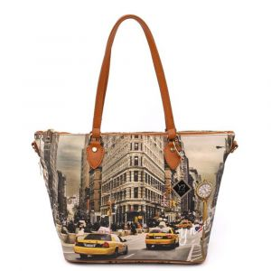 Borsa Donna Y NOT Shopping Media a Spalla con Tracolla YES-396 New York Fifth Avenue