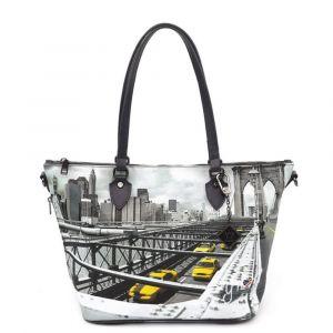 Borsa Donna Y NOT Shopping Media a Spalla con Tracolla YES-396 New York Brooklyn Bridge