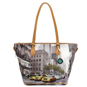 Borsa Donna Y NOT Shopping Media a Spalla con Tracolla YES-396 New York Streets