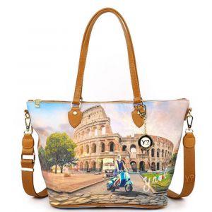 Borsa Donna Y NOT Shopping Media a Spalla con Tracolla YES-396 Rome Vita